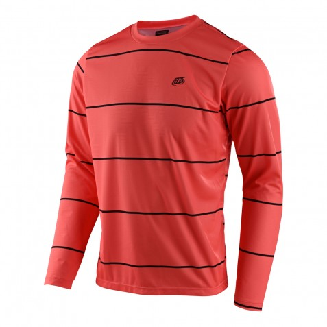 MAILLOT FLOWLINE LS STACKED CORAL
