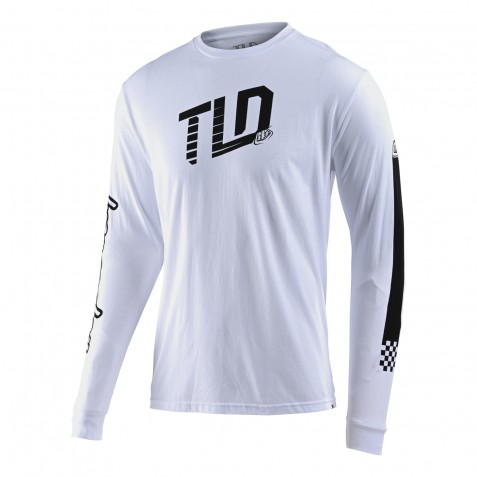 TEE SHIRT LS TRACKSIDE WHITE