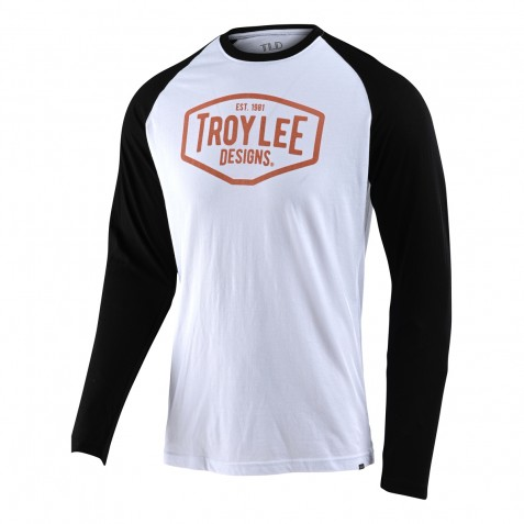 TEE SHIRT LS MOTOR OIL RAGLAN WHITE/BLACK